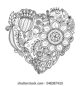 Zendoodle heart consisting of flowers leafs and plants. Black and white vector image in adult colouring book style dedicated for Saint Valentines day