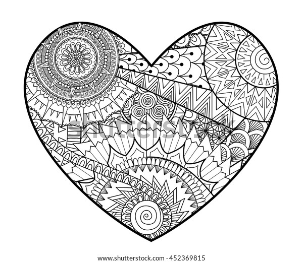 Zendoodle Heart Shape Coloring Books Adult Stock ...
