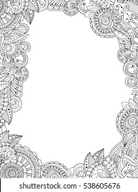 Zendoodle postcard template floral border frame in adult colouring book style