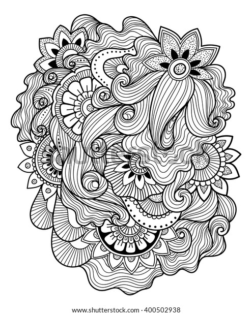 Zendoodle Zentangle Floral Pattern Mehndi Style Stock Vector