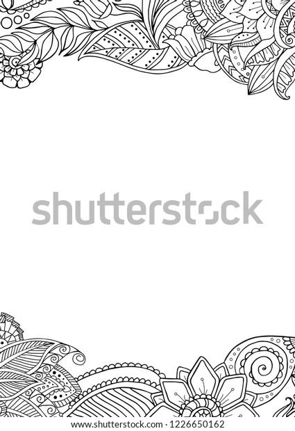 стоковая векторная графика Zentagle Floral Frame Border