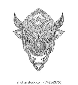 Zentagle inspired and tangled mandala illustration of a head of an American bison, American buffalo or buffalo viewed from front on isolated backgound.