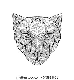 Zentagle inspired and tangled mandala illustration of head of a black panther viewed from front on isolated background.
