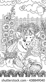 Zentangl of pig sitting in the garden with a bouquet of vegetables