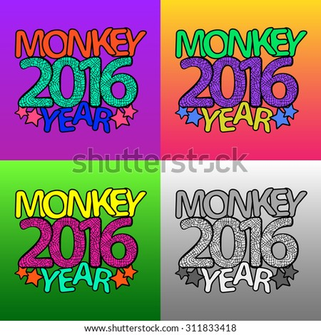 Zentangle 2016 Year Signs Set Templates Stock Vector (Royalty Free ...