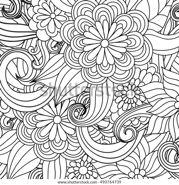 Zentangle Abstract Flower Floral Patternvector Illustration