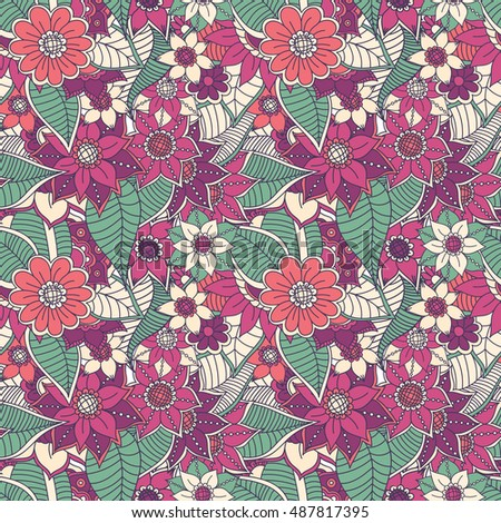 Zentangle Abstract Flower Floral Seamless Pattern Can Be Used For Wallpaper