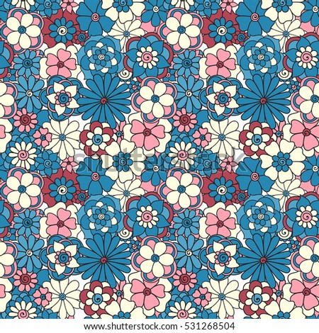 Zentangle Abstract Flower Floral Seamless PatternSeamless Pattern Can Be Used For Wallpaper