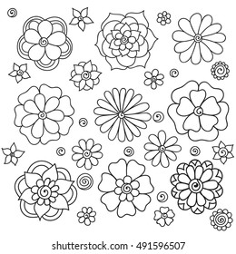 Zentangle abstract flowers. Floral set. Doodle flower. Vector illustration