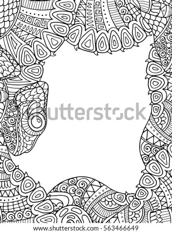 coloring pages 3213038751 | Zentangle Adult Coloring Book Style Border Stock Vector ...