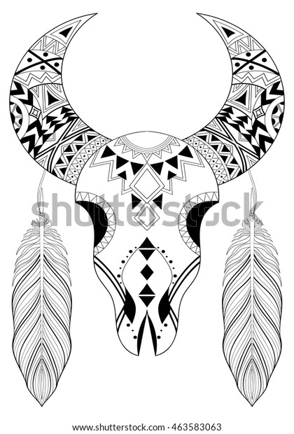 Zentangle Animal Skull Boho Feathers Hand Stock Vector