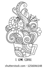 Zentangle art of coffee steam with I LOVE COFFEE concept for design element. Vector illustration