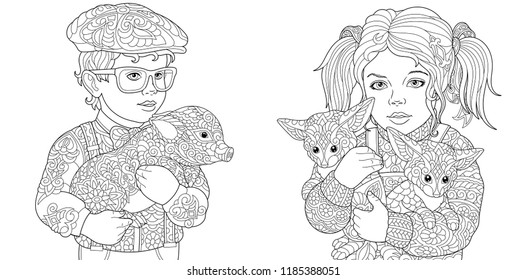 Zentangle art. Coloring Pages. Coloring Book for adults. Colouring pictures with children embracing pig and foxes. Vector illustration.