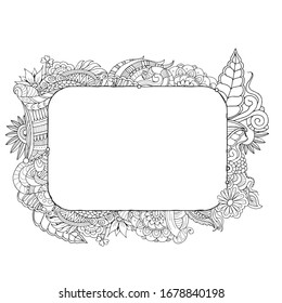 Zentangle banner template. Doodle rectangle frame border in adult colouring book style
