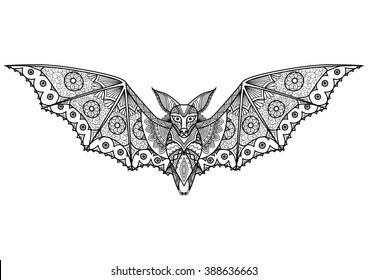 Zentangle Bat totem for adult anti stress Coloring Page for art therapy, tribal illustration in doodle style. Vector monochrome sketch with high details isolated on black background.