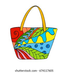 Zentangle Beach Bag with abstract pattern. Vector illustration.