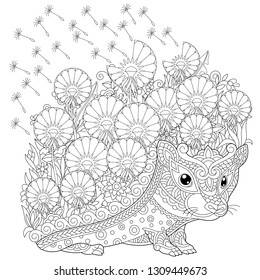 Zentangle coloring page. Colouring picture with Hedgehog and spring flowers. Freehand sketch drawing for adult coloring book.