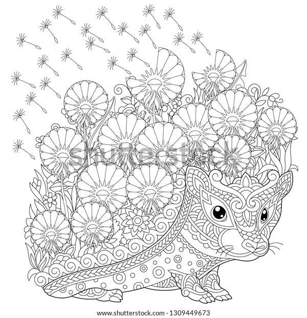 Zentangle Coloring Page Colouring Picture Hedgehog Stock Vector ...