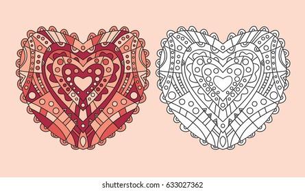 set hearts shapes hand drawn floral stock vector royalty free