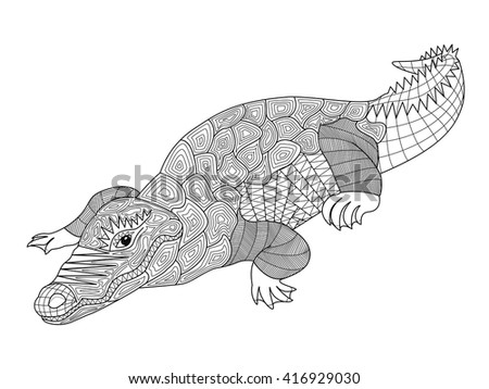 Zentangle Crocodile Coloring Pages Adults Children Stock ...