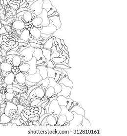 Zentangle doodle floral invitation card. Template flowers frame design for card. Decorative hand-drawn vector element border.