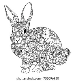 Zentangle doodle patterned bunny design black on white. Detailed illustration, hand drawn composition doodle style. Abstract, meditation coloring art