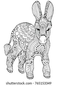 Zentangle doodle patterned donkey design black on white. Detailed illustration, hand drawn composition doodle style. Abstract, meditation coloring art