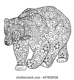 Zentangle doodle patterned fantasy bear isolated design black on white. Detailed illustration, hand drawn composition doodle style. Abstract, meditation coloring art
