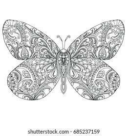 Zentangle doodle patterned fantasy Butterfly isolated design black on white background. Detailed  illustration, hand drawn composition doodle stile. Abstractart. Meditation coloring page