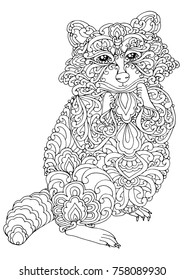 Zentangle doodle patterned raccon design black on white. Detailed illustration, hand drawn composition doodle style. Abstract, meditation coloring art