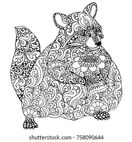 Zentangle doodle patterned raccon with flower design black on white. Detailed illustration, hand drawn composition doodle style. Abstract, meditation coloring art