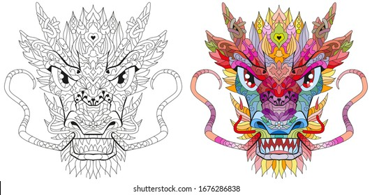 Zentangle dragon head. Hand drawn decorative vector illustration. Clolr and outline set