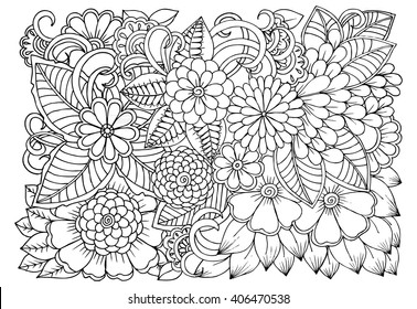 Flowers Black White Doodle Art Coloring Stock Vector Royalty Free