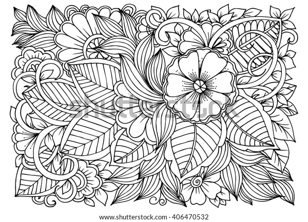 Zentangle. Floral doodles in black and white. Coloring pages for adult. Relaxing job