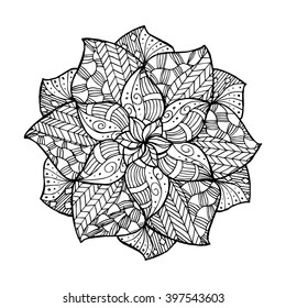 Zentangle flower mandala for coloring book and adults. Made by trace from personal hand drawn  sketch. Vector illustration in flat style. Perfect for laser cutting