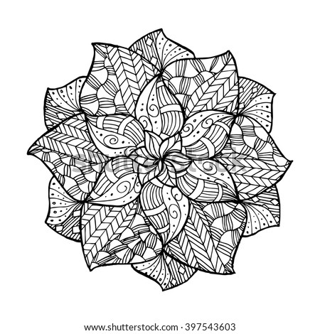 Zentangle Flower Mandala Coloring Book Adults Stock Vector Royalty