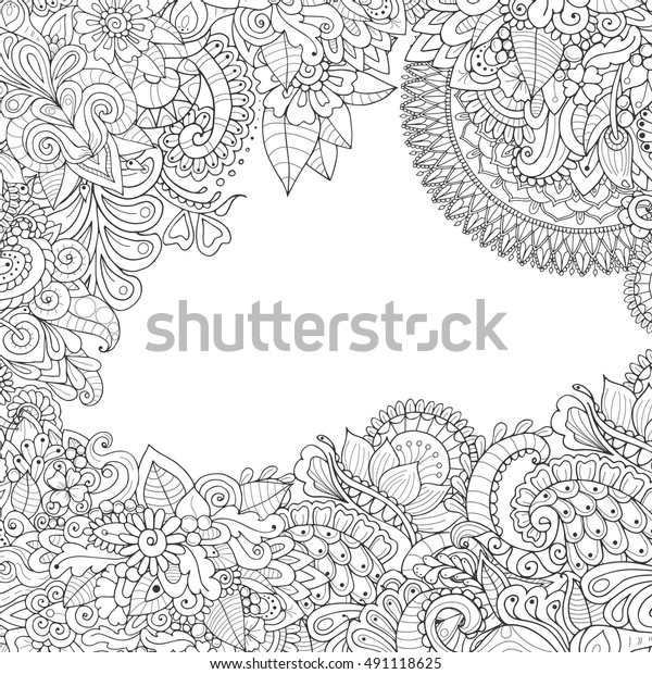 Zentangle Frame Empty Middle Monochrome Floral Stock Vector