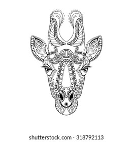 Zentangle Giraffe head totem for adult anti stress Coloring Page for art therapy, illustration in doodle style. Vector monochrome sketch with high details isolated on white background.