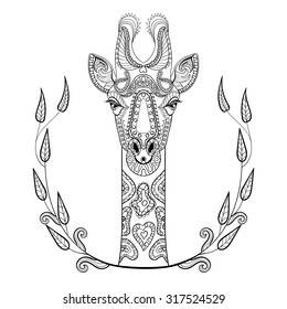 Zentangle Giraffe Head Totem In Frame For Adult Anti Stress Coloring Page Art Therapy