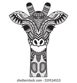 Zentangle giraffe isolated on withe background.
