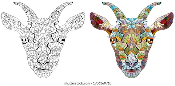 Zentangle goat head. Hand drawn decorative vector illustration for coloring. Color and outline set