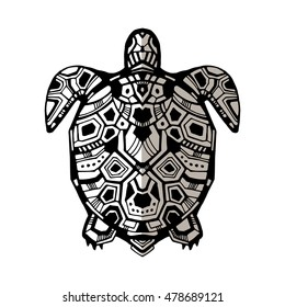 Zentangle graphic turtle. Hand drawn style vector illustration. Good for tattoo and design ethnic projects. Maori style turtle