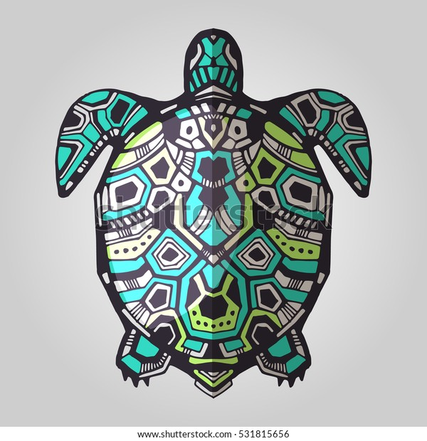 Zentangle graphic turtle. Hand drawn style vector illustration. Good for tattoo and design ethnic projects. Tribal totem animal. Maori style turtle