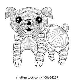 Zentangle Hand Drawing Dog For Antistress Coloring Pages Post Card T Shirt Print