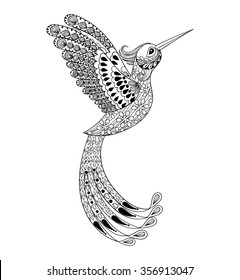Zentangle hand drawn artistically Hummingbird, flying bird tribal totem for adult Coloring Page or tattoo, t-shirt and postcard with high details illustration. Vector monochrome sketch of exotic bird.