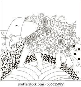 Zentangle hand drawn black and white elephant on hills, anti stress vector illustration