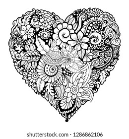Zentangle heart shape. Valentines day design element. Adult colouring book page