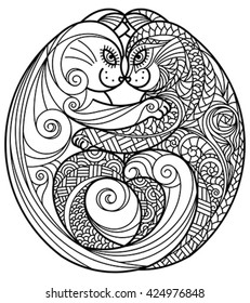 Zentangle of hugging cats. Editable vector monochrome illustration.