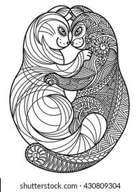 Zentangle hugging cats. Editable vector monochrome illustration.