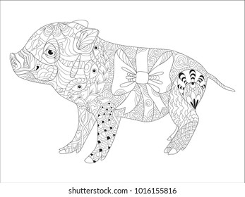 Zentangle illustration with pig. Zen tangle or doodle piglet. Coloring book domestic animal.